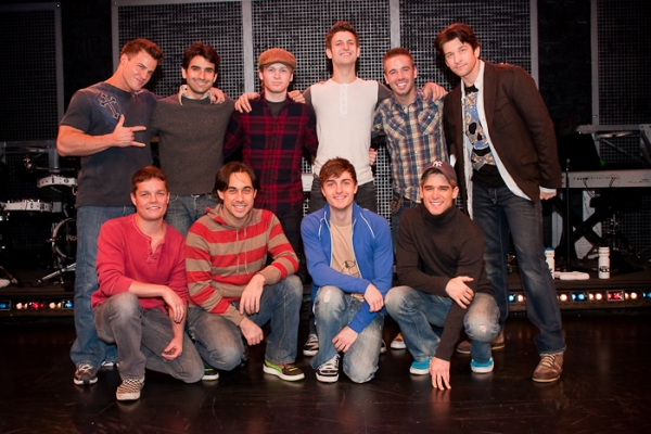 James Royce Edwards, Mauricio Perez, Corey Boardman, Tommaso Antico, Ryan J. Ratliff, Andy Karl, (Bottom L-R): Austin Lesch, Ryan Duncan, Mitch Dean, and Travis Nesbitt