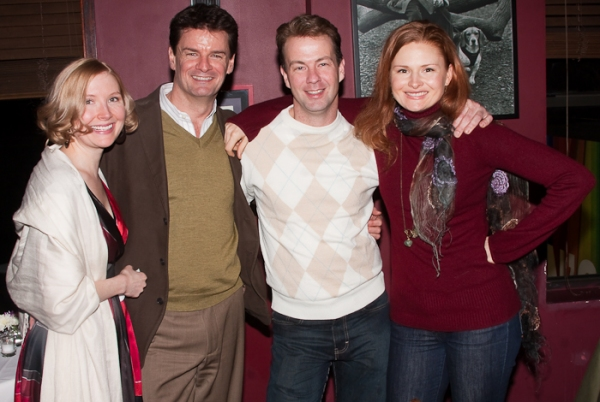 Nisi Sturgis, Rob Breckenridge, Cameron Folmar, and former understudy Claire Brownwell (now on the national tour of 39 Steps)