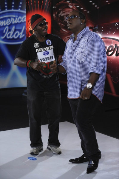 Atlanta auditioner Larry Platt with Randy Jackson.