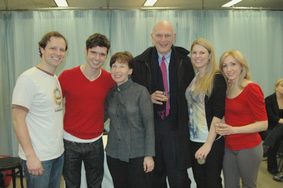 Jim Stanek, Robb Sapp, Margery Jassy, Everett Jassy (Board of Directors of The York Theatre), Heather Ayers, and Sarah Jane Everman at THE TIMES at The York Theatre