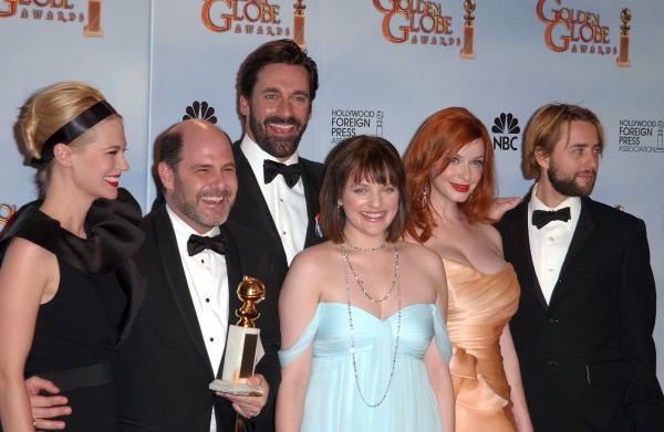 January Jones, series creator and executive producer Matthew Weiner, actor Jon Hamm,  Photo