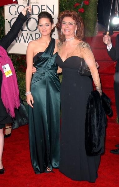 Marion Cotillard and Sophia Loren at Golden Globe Awards Arrivals Part 2