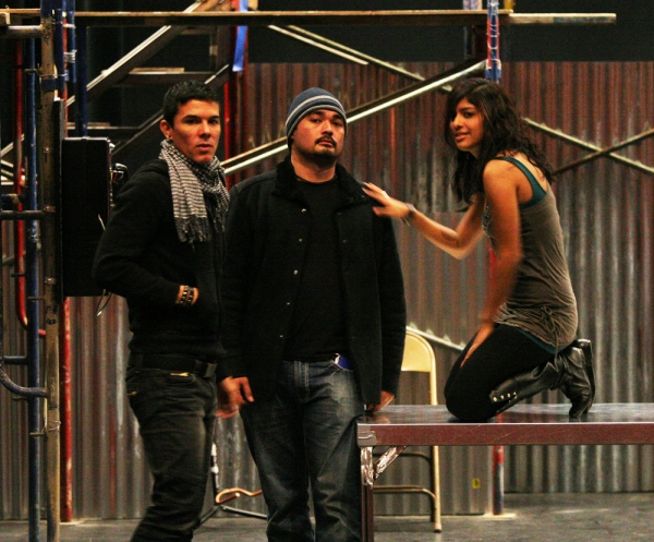 Jesus Martinez (Angel), Justin Torres (Roger) and Erica Tirado (Mimi) rehearse for RENT East Bay, California