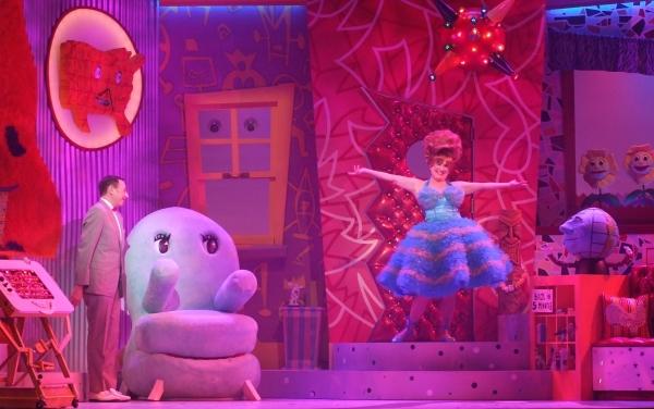 l to r: Magic Screen, Clocky, Pee-wee Herman (Paul Reubens), Chairry, Mr. Window, Mis Photo