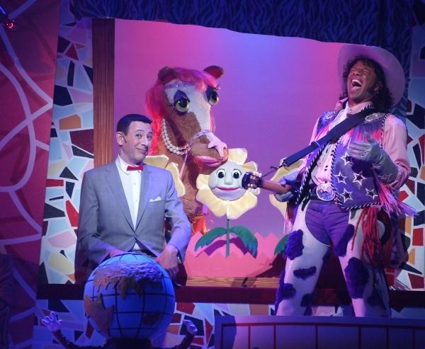 l to r: Pee-wee Herman (Paul Reubens), Ginger, Flowers, Cowboy Curtis (Phil LaMarr)