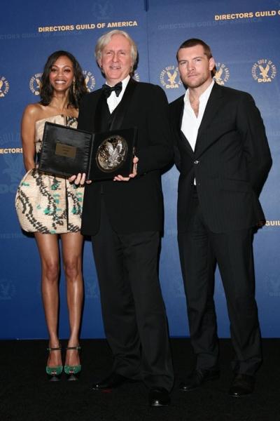 Zoe Saldana, James Cameron, and Sam Worthington