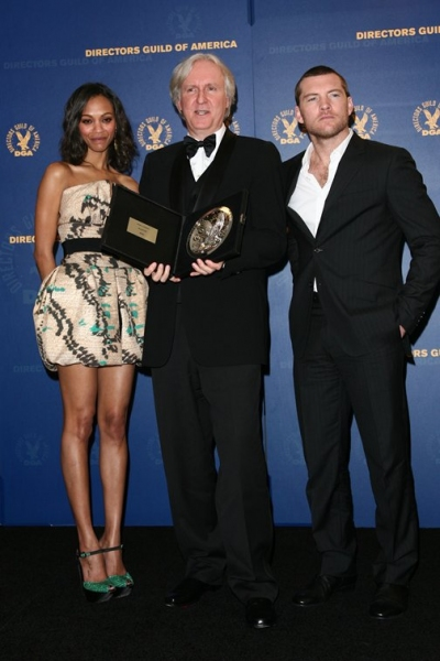Zoe Saldana, James Cameron, and Sam Worthington
