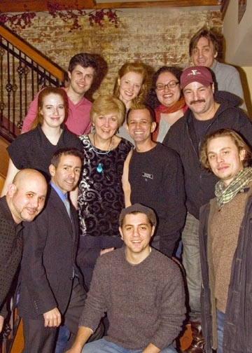Abingdon Technical Director John Trevellini; Director Jules Ochoa; Jon McCormick; Set Designer David B. Ogle. Second Row: Assistant Stage Manager Megan E. Coutts; Playwright Jan Buttram; Danny Martin; Denny Bess. Back Row: Lighting Designer Travis McHale; at Abingdon Theatre Company's PHANTOM KILLER Opening Night