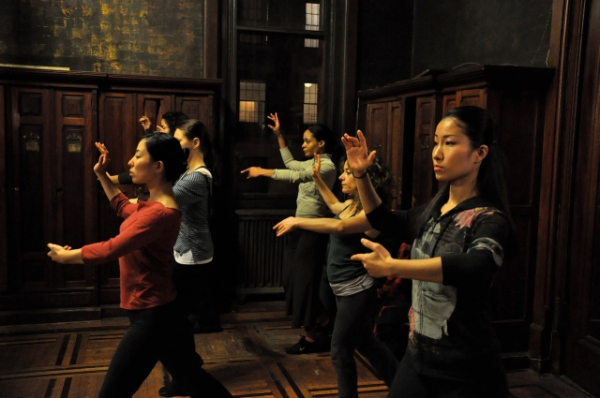 Women practice a tango move. Left: Alexandria Wailes, Ana Grosse and Itsuko Higashi Right: Jubil Khan, Jessica Green and Rumiko Oyama.