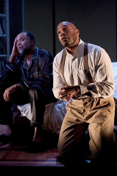 Johnnie Hobbs, Jr. as Lewis and Kes Khemnu as Simon/Rex/Jesse in Arden Theatre Company's production of Blue Door.