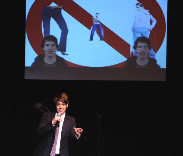 Jorma Taccone on stage; on video Andy Samberg