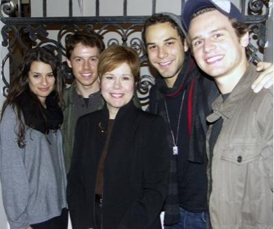 Lea Michele, Blake Bashoff, cast member Christine Estabrook, Skylar Astin, Jonathan Groff.