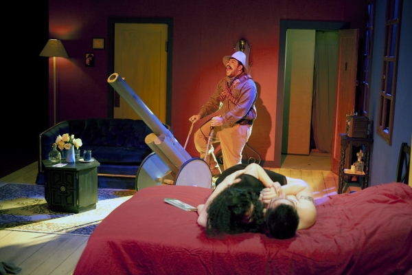 Vicente Guzman-Orozco, Nelda Reyes and Enrique E. Andrade at ENTRE VILLA Y UNA MUJER DESNUDA at Miracle Theatre