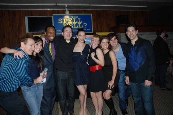 The cast (l-r) Jason Graae, Lana McKissack, Melvin Abston, Tom Zohar, Cassie Silva, Shanon Mari Mills, Laura Griffith, Brett Ryback and Daniel Tatar