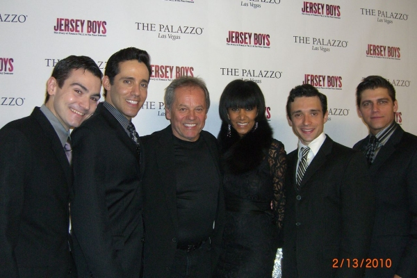 David Demato (Bob Gaudio), Jeff Leibow (Nick Massi), Wolfgang Puck and his wife Gelila Assefa, Rick Faugno (Frankie Valli), Deven May (Tommy DeVito)