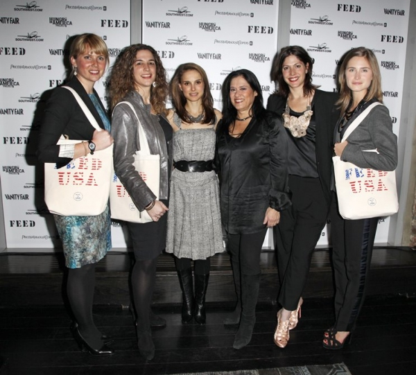 Ellen Gustafson, Kristi Jacobson, Natalie Portman, Barbara Kopple, Lori Silverbush & Lauren Bush  at Hungry in America Project in NYC