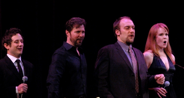 High Res Christopher Fitzgerald, Ron Bohmer, Alexander Gemignani and Kate Baldwin