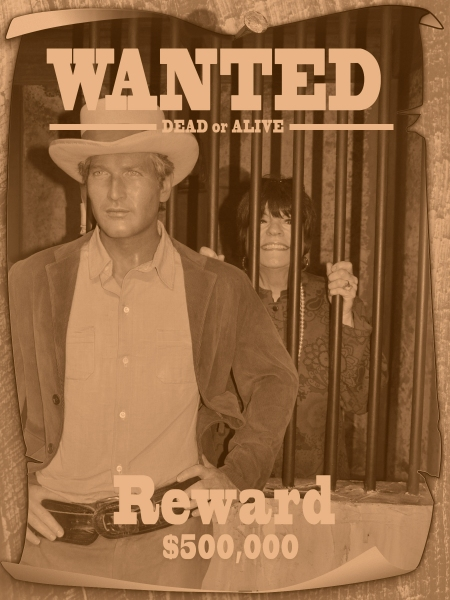 JoAnne Worley is Wanted Dead or Alive by Paul Newman (Wax Figure)