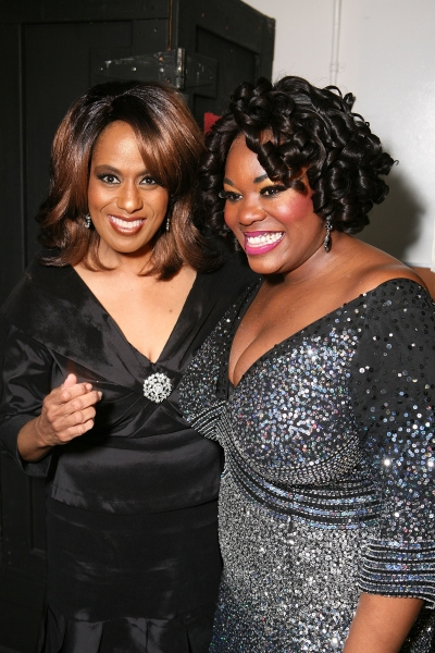 Original Dreamgirl Jennifer Holliday (L) poses with current Dreamgirl counterpart Moya Angela at Devine, Ralph & Holliday Attend Opening of DREAMGIRLS at Ahmanson Theatre