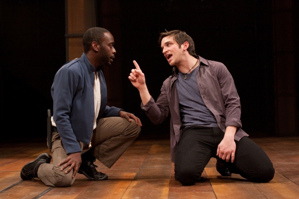 James William Ijames as Benvolio and Evan Jonigkeit as Romeo