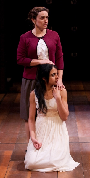 Mahira Kakkar (seated) as Juliet and Suzanne O'Donnell (standing) as Nurse