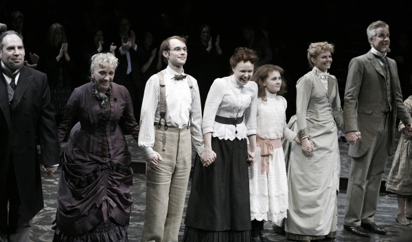 Daniel Oreskes, Elizabeth Franz, Tobias Segal, Alison Pill, Abigal Breslin, Jennifer Morrison & Matthew Modine at THE MIRACLE WORKER Opening Night Curtain Call