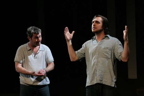 Marty Maguire (Oscar) and Andy Moore (Hank)  at CHRONICLES OF LONG KESH Opens 3/15 at Tricycle Theatre