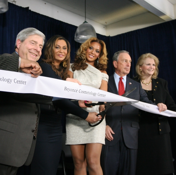 BP Markowitz; Tina Knowles; Beyonce; Mayor Michael Bloomberg; Karen Carptenter-Palumbo, commissioner, New York State Office of Alcoholism and Substance Abuse Services