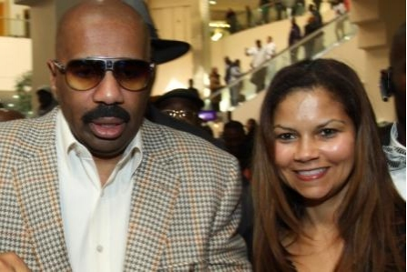Steve Harvey and Juliette Fairley at THE MAKING OF A MULATTO'S Juliette Fairley at Oscars Celebrity Event