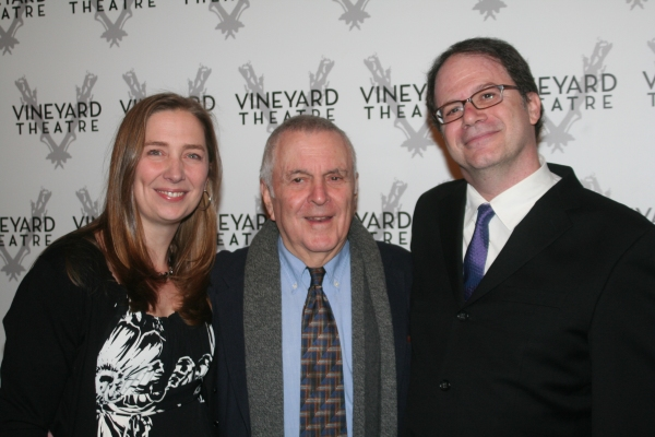 Jennifer Garvey-Blackwell (Vineyard Theatre Executive Director), John Kander and Douglas Aibel (Vineyard Theatre Artistic Director) at Kander Celebration @ Vineyard - Arrivals and Reception