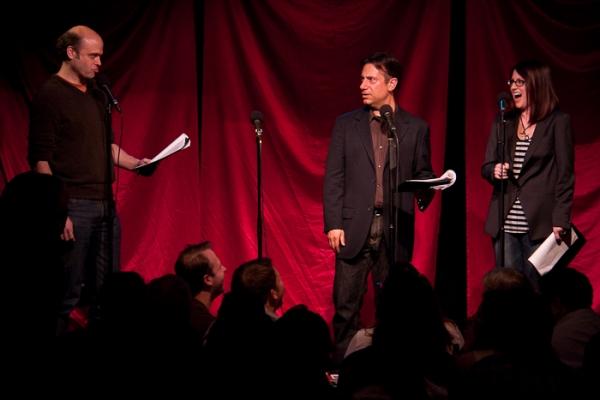 Scott Adsit, Eugene Pack, and Megan Mullally