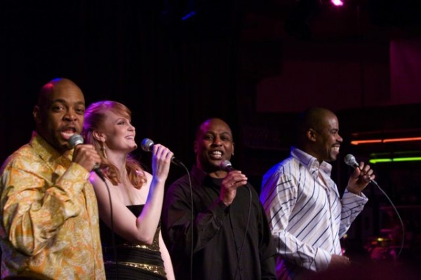 "Kate Baldwin with ""The Rhythm of Life"" Singers,  Devin Richards, James Stovall and Bernard Dotson"