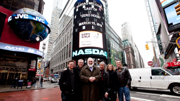 Jeramiah Peay, Steve Schalchlin, Jim Brochu, Kurt Peterson, Christiane Amorosia, Richard Bell at ZERO HOUR Star Jim Brochu Rings NASDAQ Closing Bell