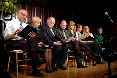 Tom Viola, Jane Powell, George S. Irving, Michael Cerveris, Kate Baldwin, Michael Riedel, Diane Stilwell Weinberg and Charlotte Moore