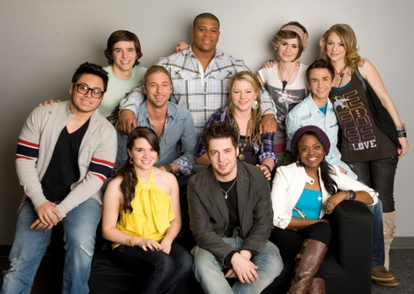 Final 11: Bottom Row L-R: Andrew Garcia, Katie Stevens, Lee Dewyze and Paige Miles. Middle Row L-R: Casey James, Crystal Bowersox and Aaron Kelly. Top Row L-R: Tim Urban, Michael Lynche, Siobhan Magnus and Didi Benami.