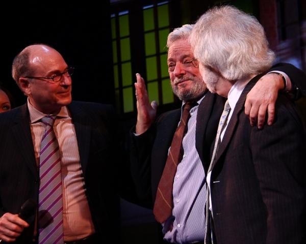 James Lapine, Stephen Sondheim, and John Weidman at Roundabout's Sondheim 80 Gala at Sondheim on Sondheim!