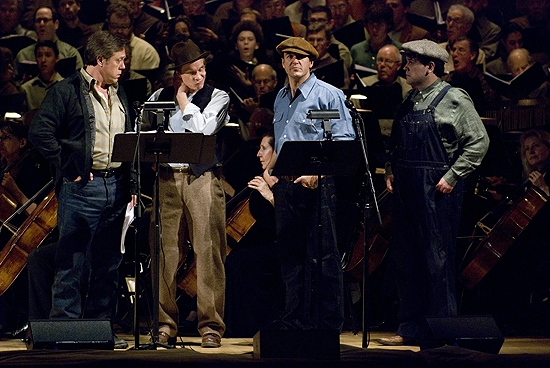 Anthony Dean Griffey, Andrew Wilkowske, Peter Halverson at Fonda, Ebersole et al. in Collegiate Chorale's GRAPES OF WRATH