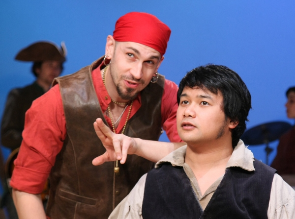 James Anthony Zoccoli as Long John Silver and Kroydell Galima as Jim Hawkins