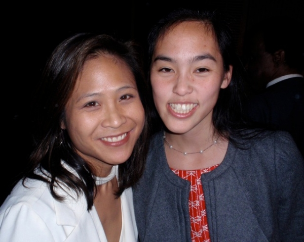 May Adrales & playwright Lauren Yee at CHING CHING CHINAMAN Opening Night At The West End Theatre