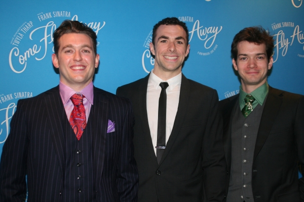 Eric Otto, Justin Peck and Todd Burnsed at COME FLY AWAY Opening Night Party Arrivals