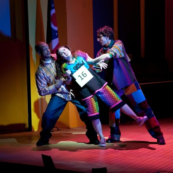 Kyle Primous* (Comfort Counselor Mitch Maloney), Kelly Smith (Logainne Schwartzandgrubenniere) and Timothy Allen (Leaf Coneybear)