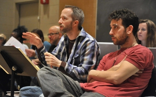 Eric Rosen (co-creator and director); foreground: Curtis Moore (music director) and Matt Sax (co-creator and cast member); and Anjee Nero (production stage manager)