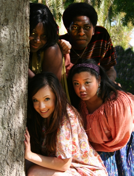 Darlene Hope, Bjorn Stowers, Luerne Herrera and Stefanie Clouse at American Stage Theatre Company's HAIR