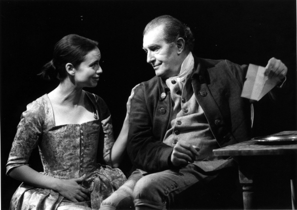 Yvonne Woods as Peggy and Corin Redgrave as Benedict Arnold in the Alley Theatre's production of The General From America