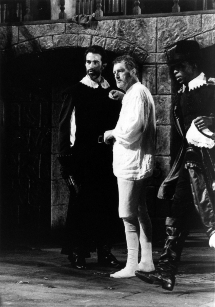 John Feltch as Marcus Brutus, Corin Redgrave as Julius Caesar and Ewart James-Walters as Decimus Brutus in the Alley Theatre's production of Julius Caesar