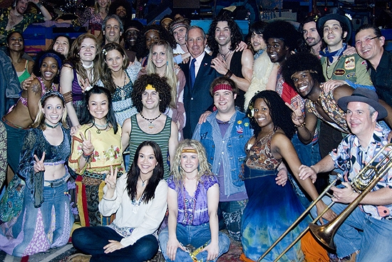 Mayor Michael Bloomberg and the Cast of HAIR