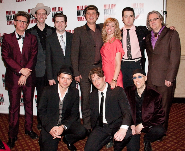 (top) Eric Schaeffer, Corey Kaiser, Robert Britton Lyons, Lance Guest, Elizabeth Stanley, Eddie Clendening, and Chuck Mead (bottom) Hunter Foster, Levi Kreis, and Larry Lelli