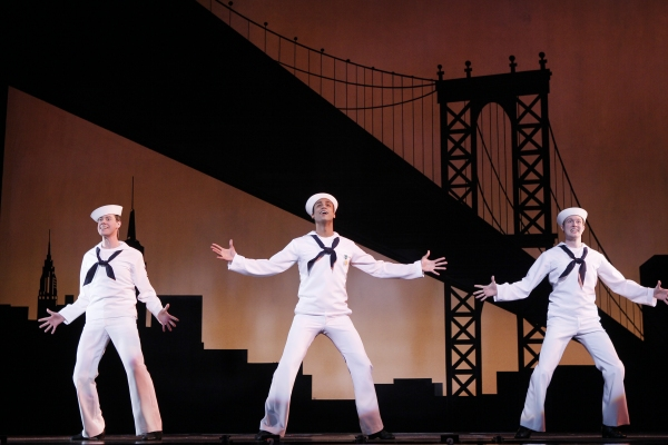 """New York, New York! It's a helluva town!"" for sailors Ozzie (Greg McCormick Allen, left), Gabey (Joe Aaron Reid, center) and Chip (Matt Owen, right), who want to take it all in during one day's shore leave"