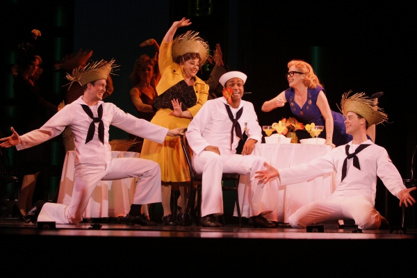 What are friends for? They're for cheering up a lonely guy, as Sailor Gabey (Joe Aaron Reid, center) finds out thanks to (left to right) Chip (Matt Owen), Hildy (Sarah Rudinoff), Claire (Billie Wildrick) and Ozzie (Greg McCormick Allen)