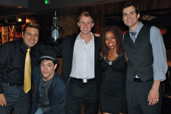 House Manager Devis Andrade with Cast members Omar D. Brancato, Cody Wood, Jennifer Leigh Warren and Brandon Albright
